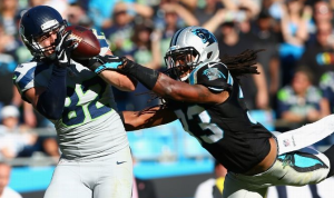 Luke Willson catches the winning touchdown against the Carolina Panthers (Getty Images)