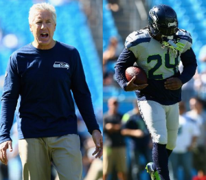 Pete Carroll and Marshawn before the Carolina game (Getty)