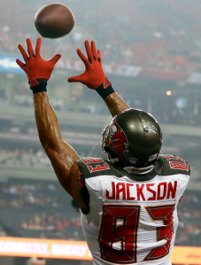 Vincent Jackson catches a TD pass against Atlanta last month (Getty)