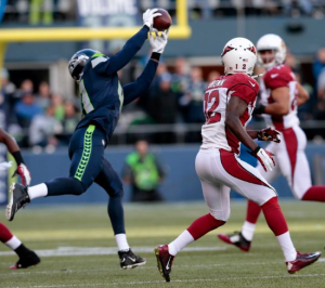 Byron Maxwell picks off a pass from Arizona QB Drew Stanton (Seahawks.com)