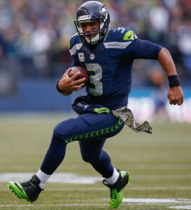 Russell Wilson runs against the New York Giants on Sunday (Getty)