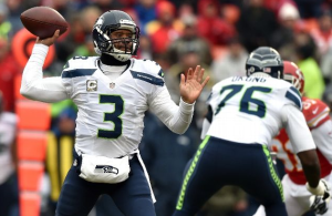 Russell Wilson throws a pass against Kansas City (Getty)