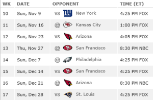 Seahawks remaining schedule