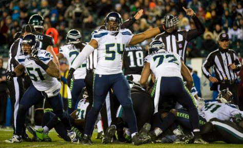 Bobby Wagner signals Seattle ball after a takeaway against the Eagles (Seahawks.com)