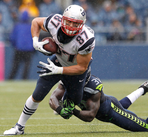 Kam Chancellor tackles Rob Gronkowski in the 2012 meeting between the Seahawks and Patriots