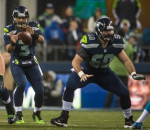 Max Unger sets up in pass protection vs. Carolina as Russell Wilson receives the center's snap (Seahawks.com)