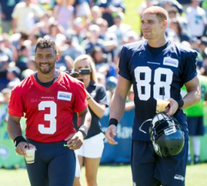 Russell Wilson and Jimmy Graham after practice (Seahawks via Twitter)