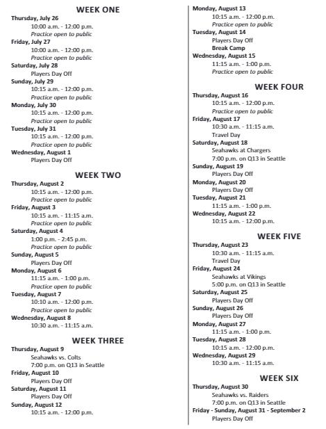 Camp schedule 2018